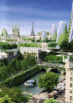 Paris Smart City – Paris – Pour une ville durable, dense et Futuristic Architecture, Sustainable Architecture, Amazing Architecture, Landscape Architecture, Floating Architecture, Architecture Design, Fantasy City, Fantasy Places, Future City