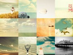 Beach prints nautical decor pastel colors sea sand summer vacation coastal  - Set of 12 5x5 photos
