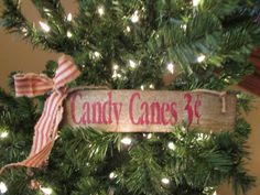 Primitive Candy Cane Sign by Cherriesprimitives on Etsy