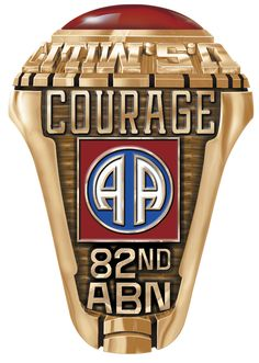 This is the famous 82nd Airborne Emblem of the United States Army. The image shows the default text courage, this can be changed at the design stage, to display your name, rank or a date. The ring can be order and designed online in a few simple steps.