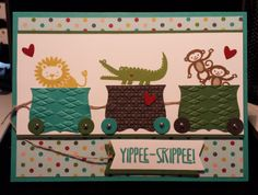 Yippee Skippee Zoo Babies Roadtrip Stampin Up birthday basics dsp or baby card by Gloria Kremer