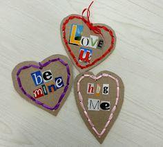 paperboard valentines, valentine's kids crafts, green valentines, upcycled valentines, valentines with magazine words