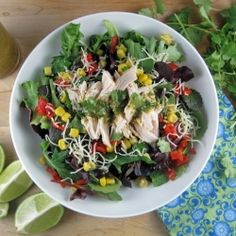 Tex-Mex Chicken Salad - This simple, restaurant quality salad has the perfect combination of cilantro and lime which comes from easy to make vinaigrette.