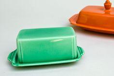 Vintage Riviera Pottery: Original Fiesta, Fiestaware Homer Laughlin Green Butter DishFor Sale