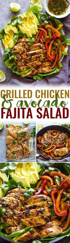 Skinny Grilled Chicken Fajita & Avocado Salad