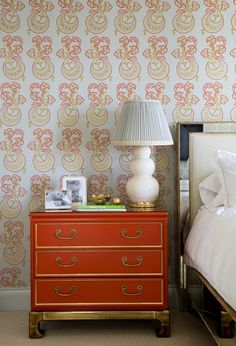 orange chest of drawers // bedroom // Palmer Weiss #interiors #bedrooms