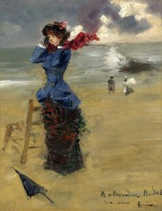 Jean-Louis Forain - Elegant Woman at the Beach Jean-Louis Forain – was a French Impressionist painter, lithographer, watercolorist and etcher. Elegant Woman, Art Plage, Sculpture Textile, Jean Leon, Blowin' In The Wind, Beach Art, Beach Canvas, French Artists, Belle Epoque