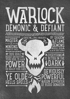 World of Warcraft / Roleplaying Medieval / Fantasy Inspired Type Print - WARLOCK Edition