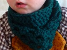WOOL Crochet bandana cowl scarf for babies and toddlers - ANY COLOUR!