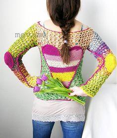 Svetrík zapíŠ si to za uŠi / mevame - SAShE. Crochet Woman, Love Crochet, Beautiful Crochet, Crochet Tops, Freeform Crochet, Crochet Yarn, Crochet Blouse, Crochet Fashion, Crochet Designs