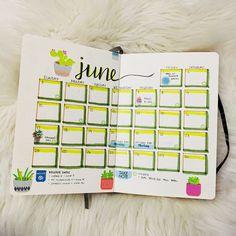 June 2018 Bullet Journal Calendar Page