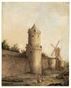 Gezicht op de stadsmuur van Nijmegen door Rudolphus Lauwerier - 1830 - 1840