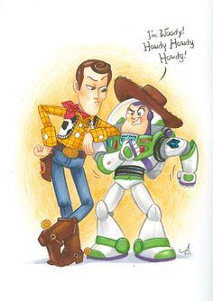 Woody & Buzz Lightyear by Amy Mebberson Walt Disney, Disney Toys, Disney Fun, Disney Pixar, Disney Magic, Toy Story 3, Disney Movie Characters, Disney Movies, Buzz Lightyear