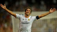 Real Madrid's forward Raul celebrates after scoring during the Santiago Bernabeu trophy football match Real Madrid CF vs Al-Sadd SC at the Santiago Bernabeu stadium in Madrid on August 2013 Real Madrid Club, Real Madrid Football Club, Messi, New York Cosmos, Santiago Bernabeu, Youth Club, Professional Soccer, Soccer News, Sports News