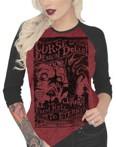 "Curse Of The Demon Dolls Women's Raglan Tee Is Black on a Blood Red wine with 3/4"" Black Sleeves. Up to 2XL."