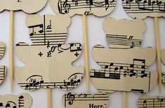 10 teddy bears cake toppers music partition vintage