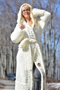 READY handmade wool cardigan hand knitted cardigan chunky wool jacket long cardigan hooded cardigan wool coat with belt and loops Dukyana Mohair Sweater, Wool Cardigan, Wool Sweaters, Cardigan Long, Hooded Cardigan, Crochet Coat, Crochet Cardigan, Winter Fashion Outfits, Autumn Winter Fashion