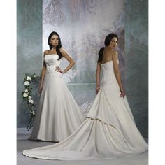 Satin Strapless Aline Skirt with Pick up Chapel Train Wholesale Wedding Gown WF-0026 - Wedding Gowns & Dresses - Wedding Dresses Online Shop [#11555] - $177.95