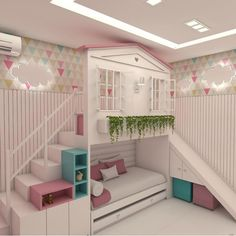 Planning to build a loft bed for kids in the nursery? Get creatively inspired with these delightful kids loft beds ideas in our gallery! Cute Bedroom Ideas, Cute Room Decor, Girl Bedroom Designs, Awesome Bedrooms, Cool Rooms, Nursery Ideas, Baby Bedroom, Kids Bedroom, Bedroom Decor