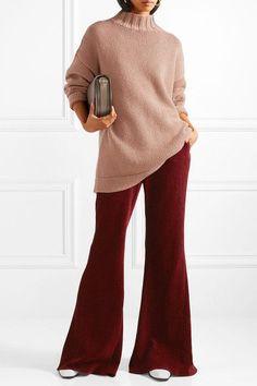 Rosetta Getty - Chenille Flared Pants - Burgundy