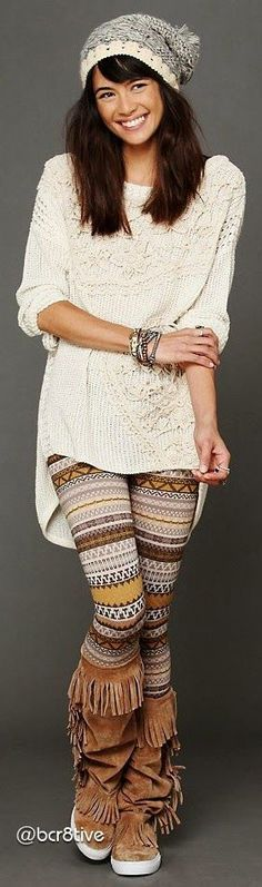 Fashion And Style: Adorable ladies legging, beanie, sweater and long worm boots for boho chic #bohemianfashion,