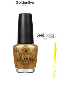 gold glittery gel nail polish  OPI golden eye