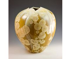 Round Golden Hand Carved Vase by MarieWrightPottery on Etsy,