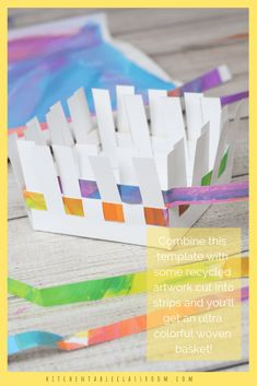 How to Make a Paper Basket- Paper Basket Weaving - The Kitchen Table Classroom Learn how to make a paper basket using this free printable template. This paper basket weaving will sharpen weaving skills and is so sweet for gifting! Paper Crafts For Kids, Diy Paper, Easter Crafts, Diy Crafts, Handmade Crafts, Handmade Rugs, Handmade Skirts, Handmade Soaps, Paper Basket Weaving