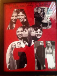 This is a super cute picture collage that I made my boyfriend for valentines day. He loved it<3 I just placed scrapbook paper the size of a picture frame in it (the initials and heart already cut out of it) and taped the pictures behind it. It was a bit time consuming but overall worth it for Valentine's Day.