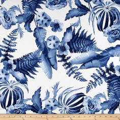 Monet Rayon Sateen Floral Blue/White from @fabricdotcom  This rayon fabric has a beautiful fluid drape and an ultra soft luxurious hand. It is perfect for creating shirts, blouses, gathered skirts and flowing dresses with a lining. Colors include shades of blue and white.