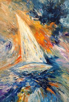 """""""Sailing Adventure L 1"""" Modern maritim abstracted art. Acrylic painting on canvas Sizeof this vibrant abstracted painting: 55.2"""" height x 35.4"""" width x 1.5"""" depth. Abstracted sea, water, wind, waves, sky, clouds, sailing boats.. special kind of freedom. Modern vibrant artworks. Blue, colorful, martim"""