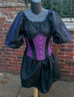 Ladies Black short sleeve chemise w/ trim medieval SCA Pirate garb maiden