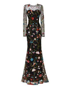 Glachel - Vestido fiesta largo manga larga tul bordado hilo - Pronovias | Pronovias