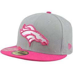 New Era Denver Broncos Breast Cancer Awareness On-Field Player Fitted Hat -  Gray Pink 1f7b49ec385a