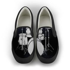 Do you you love drums? Sport some awesome drumming kicks today, you'll get noticed! Features a full front-toe canvas print. Elastic stretch in-step for easy on-and-off use. Soft textile lining with lightweight construction for maximum comfort High-quality canvas construction for everyday use and durable outsole for exc