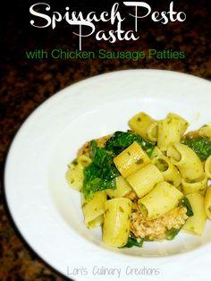 Food Network Magazine's Spinach Pesto Pasta. Delicious!  www.lorisculinarycreations.com  #foodnetwork  #pestopasta