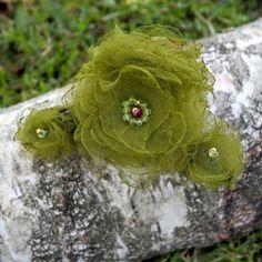 green floral hair claw clasp hair piece green hair flowers embroidered hair claw clasp green hair clip hair accessories hair jewelry