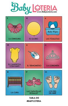 Baby Loteria, Baby Lottery, Baby Bingo, Baby Shower Game, Co Ed Baby Shower  Game