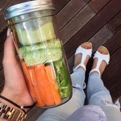 Healthy Snacks Safely Stored in a Mason Jar - Separate Veggies and Dip with BNTO by Cuppow!