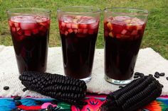 Gorgeous Color, Refreshing Flavor: How to Make Peruvian Chicha Morada - - Learn to make chicha morada, the beautifully-hued and traditional non-alcoholic cold drink from South America prepared from boiled corn and spices. Peruvian Drinks, Peruvian Recipes, Peruvian Cuisine, Peruvian Dishes, Fruit Drinks, Cold Drinks, Beverages, Yummy Drinks, Healthy Drinks