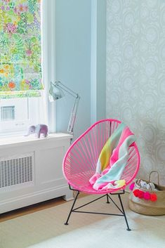 window coverings and accent wall wallpaper #PinkChair