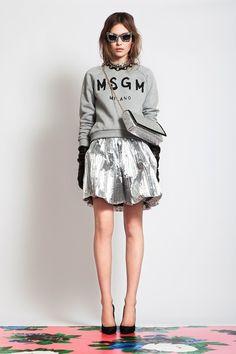 sweatshirt & skirt + statement necklace