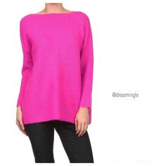 Brightest sweater of the season IS HERE! Don't miss this one!! $58. (Sizes S/M or M/L available.) Comment for PayPal. WE SHIP! #dredsmingle #hotpink