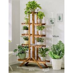 garden design - Natural Bamboo Plant Display Stand, Solid Wood Potted Flower Storage Rack with 9 Shelves, 5 Tier Walmart com Decor, House Plants Indoor, Bedroom Plants, Flower Pot Design, Plant Stand Indoor, Wooden Flowers, Plant Decor, Plant Shelves, Flower Stands