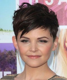 Ginnifer Goodwin Short Straight Casual Layered Pixie Hairstyle with Side Swept Bangs – Dark Brunette Hair Color - Coiffure Sites Short Brown Hair, Short Straight Hair, Short Hair Cuts, Short Hair Styles, Short Hair Pixie Edgy, Pixie Bangs, Asymmetrical Pixie, Long Pixie, Cute Pixie Haircuts