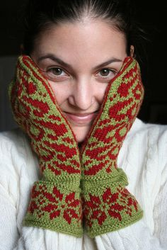 I want these... Will someone knit this for me?  Norwegian Mittens (knitting pattern from Knitting Around by Elizabeth Zimmerman)