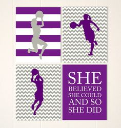Girls wall art, basketball wall art, girls room decor, basketball player, girls basketball, inspirational sports quote, set of 4 by PicabooArtStudio, $34.00