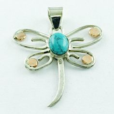 92.5 STERLING SILVER TURQUOISE STONE AMAZING BUTTERFLY PENDANT #SilvexImagesIndiaPvtLtd #Pendant
