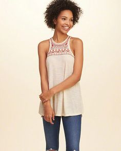 Shine Embroidery Knit Tunic Top