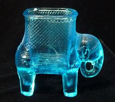 EAPG BABY MINE ELEPHANT RARE BLUE VASELINE GLASS CANDY CONT. MATCH,TOOTHPICK HOLDER